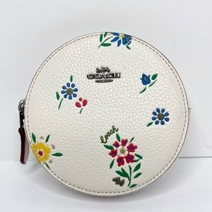 Coach Wildflower Pebbled Leather Round Coin Pouch